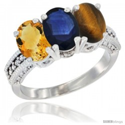 14K White Gold Natural Citrine, Blue Sapphire & Tiger Eye Ring 3-Stone 7x5 mm Oval Diamond Accent