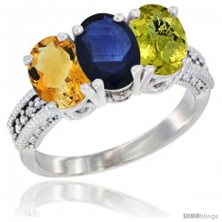 14K White Gold Natural Citrine, Blue Sapphire & Lemon Quartz Ring 3-Stone 7x5 mm Oval Diamond Accent