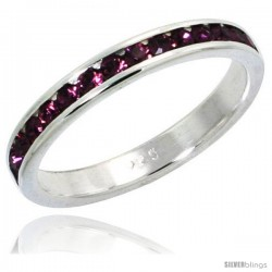 "Sterling Silver Eternity Band, w/ February Birthstone, Amethyst Crystals, 1/8"" (3 mm) wide"