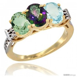 10K Yellow Gold Natural Green Amethyst, Mystic Topaz & Aquamarine Ring 3-Stone Oval 7x5 mm Diamond Accent