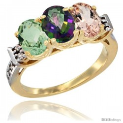 10K Yellow Gold Natural Green Amethyst, Mystic Topaz & Morganite Ring 3-Stone Oval 7x5 mm Diamond Accent
