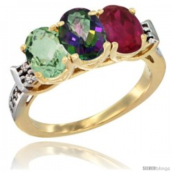 10K Yellow Gold Natural Green Amethyst, Mystic Topaz & Ruby Ring 3-Stone Oval 7x5 mm Diamond Accent