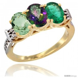 10K Yellow Gold Natural Green Amethyst, Mystic Topaz & Emerald Ring 3-Stone Oval 7x5 mm Diamond Accent