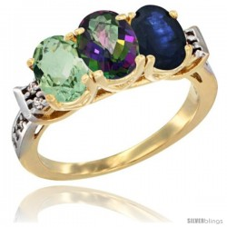 10K Yellow Gold Natural Green Amethyst, Mystic Topaz & Blue Sapphire Ring 3-Stone Oval 7x5 mm Diamond Accent