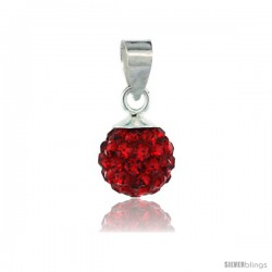 Sterling Silver Ruby Crystal Ball Pendants 8mm