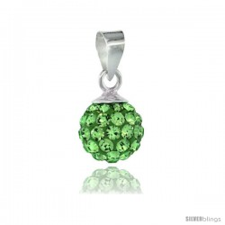 Sterling Silver Peridot Crystal Ball Pendants 8mm