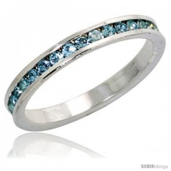 "Sterling Silver Eternity Band, w/ March Birthstone, Aquamarine Crystals, 1/8"" (3 mm) wide"