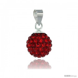 Sterling Silver Ruby Crystal Ball Pendants 10mm