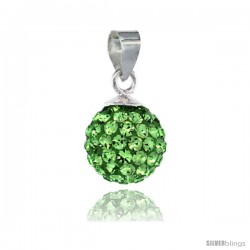 Sterling Silver Peridot Crystal Ball Pendants 10mm