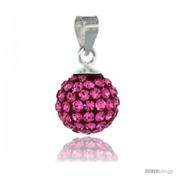 Sterling Silver Pink Tourmaline Crystal Ball Pendants 10mm