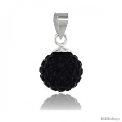 Sterling Silver Black Crystal Ball Pendants 10mm