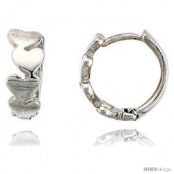 Sterling Silver Huggie Hoop Earrings w/ Teeny Heart Links, 1/2 in. (12 mm)