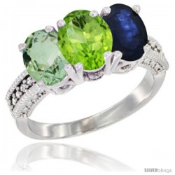 14K White Gold Natural Green Amethyst, Peridot & Blue Sapphire Ring 3-Stone 7x5 mm Oval Diamond Accent