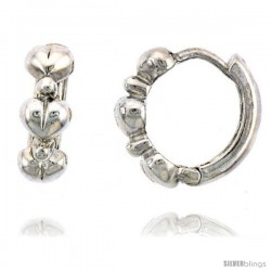 "Sterling Silver Huggie Hoop Earrings w/ Teeny Heart Links, 1/2"" (13 mm)"