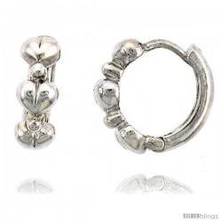 "Sterling Silver Huggie Hoop Earrings w/ Teeny Heart Links, 1/2"" (13 mm)"