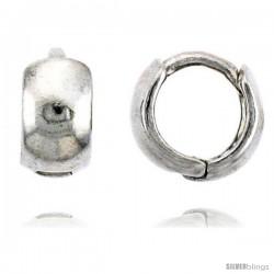 """Sterling Silver Plain Huggie Hoop Earrings, 3/8"""" (9 mm)"""