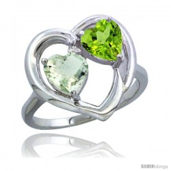 14k White Gold 2-Stone Heart Ring 6mm Natural Green Amethyst & Peridot Diamond Accent, Diamond Accent