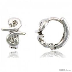 "Sterling Silver Swirl Huggie Hoop Earrings, 3/8"" (10 mm) -Style Ceh32"