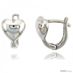 "Sterling Silver U-shaped Heart Huggie Earrings, 7/16"" (11 mm) tall"