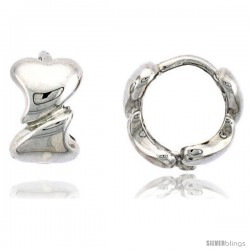 "Sterling Silver Heart Link Huggie Earrings, 3/8"" (10 mm)"