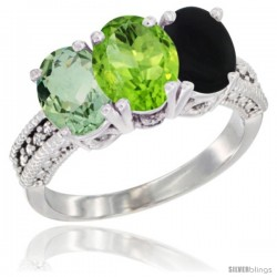 14K White Gold Natural Green Amethyst, Peridot & Black Onyx Ring 3-Stone 7x5 mm Oval Diamond Accent