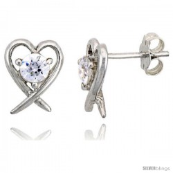 "Sterling Silver Heart Cut Out Stud Earrings, w/ Brilliant Cut CZ Stone, 7/16"" (11 mm)"