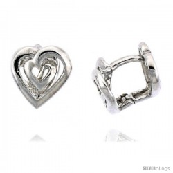 "Sterling Silver Fancy Heart Huggie Earrings, 5/16"" (8 mm)"