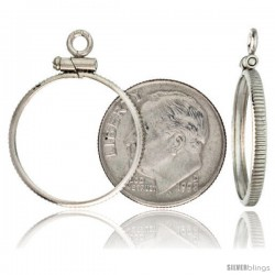 Sterling Silver 18 mm Dime (10 Cents) Screw Top Coin Bezel Frame Pendant (Coin is NOT Included)