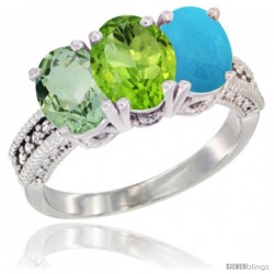 14K White Gold Natural Green Amethyst, Peridot & Turquoise Ring 3-Stone 7x5 mm Oval Diamond Accent