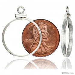 Sterling Silver 19 mm Copper Penny (1 Cent) Screw Top Coin Bezel Frame Pendant (Coin is NOT Included)