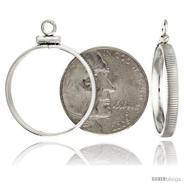 Sterling silver 21 mm nickel 5 cents screw top coin bezel frame undefined aloadofball Choice Image