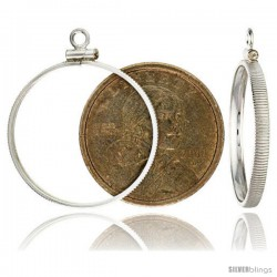 Sterling Silver 26 mm Sacagawea & Susan B. Anthony Screw Top Coin Bezel Frame Pendant (Coin is NOT Included)