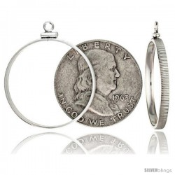 Sterling Silver 30 mm Half Dollar (50 Cents) Screw Top Coin Bezel Frame Pendant (Coin is NOT Included)