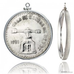 Sterling Silver 42 mm 2 oz. Silver Libertad Mexican Screw Top Coin Bezel Frame Pendant (Coin is NOT Included)