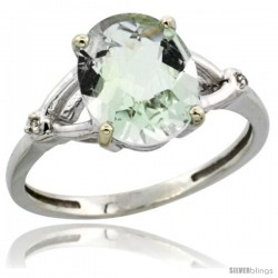 14k White Gold Diamond Green-Amethyst Ring 2.4 ct Oval Stone 10x8 mm, 3/8 in wide