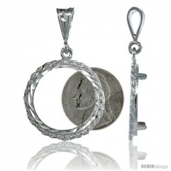 Sterling Silver 22 mm Nickel (5 Cents ) Coin Frame Bezel Pendant w/ Rope Edge Design (Coin is NOT Included)
