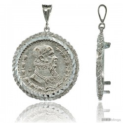 Sterling Silver 34 mm Mexican 1 Peso Silver Coin Frame Bezel Pendant w/ Rope Edge Design (Coin is NOT Included)