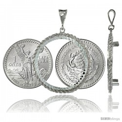 Sterling Silver 36 mm Mexican 1 oz Silver Libertad Coin Frame Bezel Pendant w/ Rope Edge Design (Coin is NOT Included)