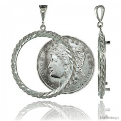 Sterling Silver 38 mm Silver Dollar & Mexican Olympic Coin Frame Bezel Pendant w/ Rope Edge Design (Coin is NOT Included)
