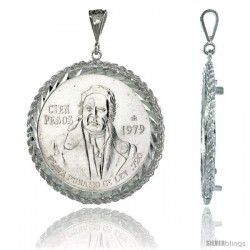 Sterling Silver 39 mm Cien Pesos Mexican & Most Silver Rounds, Coin Frame Bezel Pendant w/ Rope Edge Design (Coin is NOT