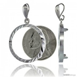 Sterling Silver 22 mm Nickel (5 Cents) Coin Frame Bezel Pendant w/ Diamond Cut Finish (COIN is NOT Included)