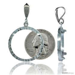 Sterling Silver 24 mm Quarter Dollar (25 Cents) Coin Frame Bezel Pendant w/ Diamond Cut Finish (COIN is NOT Included)