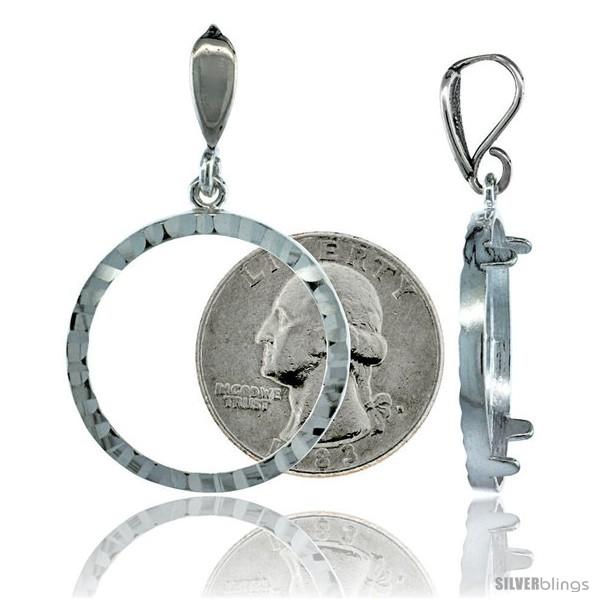 Sterling Silver 24 mm Quarter Dollar (25 Cents) Coin Frame Bezel ...