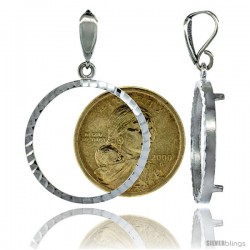 Sterling Silver 26 mm Sacagawea & Susan B. Anthony Coin Frame Bezel Pendant w/ Diamond Cut Finish (COIN is NOT Included)