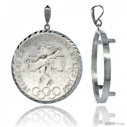 Sterling Silver 38 mm Silver Dollar & Mexican Olympic Coin Frame Bezel Pendant w/ Diamond Cut Finish (COIN is NOT Included)