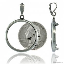 Sterling Silver 24 mm Quarter Dollar (25 Cents) Coin Frame Bezel Pendant (COIN is NOT Included)