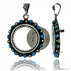 Sterling Silver 22 mm (25 Cents) Coin Frame Bezel Pendant w/ Turquoise Beads & Floral Edge Design