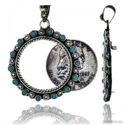 Sterling Silver 30 mm Half Dollar (50 Cents) Coin Frame Bezel Pendant w/ Turquoise Beads & Floral Edge Design