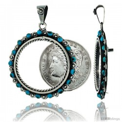 Sterling Silver 38 mm Silver Dollar & Mexican Olympic Coin Frame Bezel Pendant w/ Turquoise Beads & Floral Edge Design