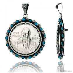 Sterling Silver 39 mm Cien Pesos Mexican & Most Silver Rounds Coin Frame Bezel Pendant w/ Turquoise Beads & Floral Edge Design
